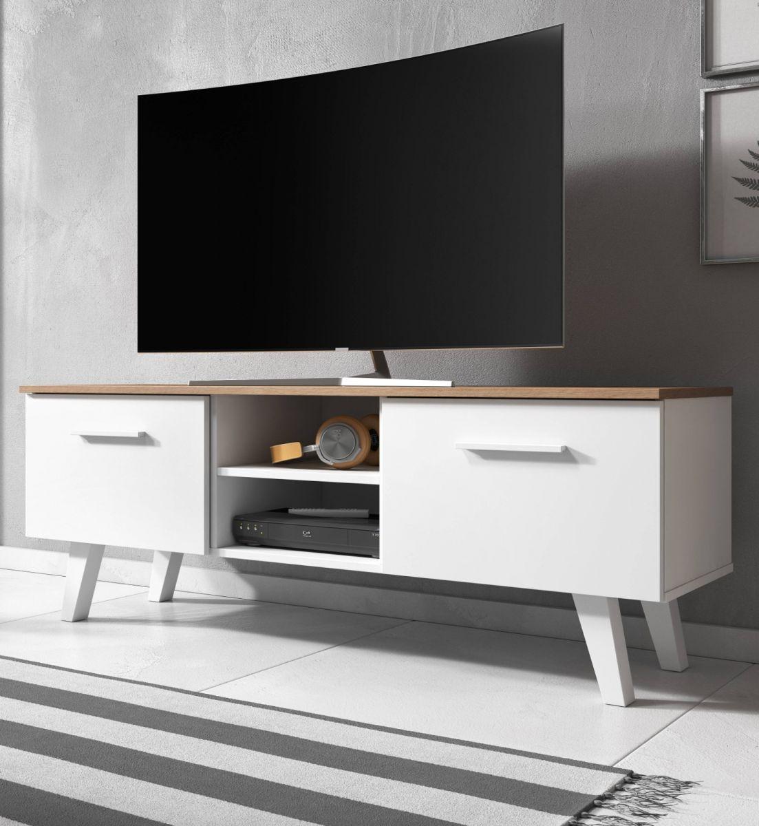 TV-Lowboard Jenrik weiss und Eiche 140 cm