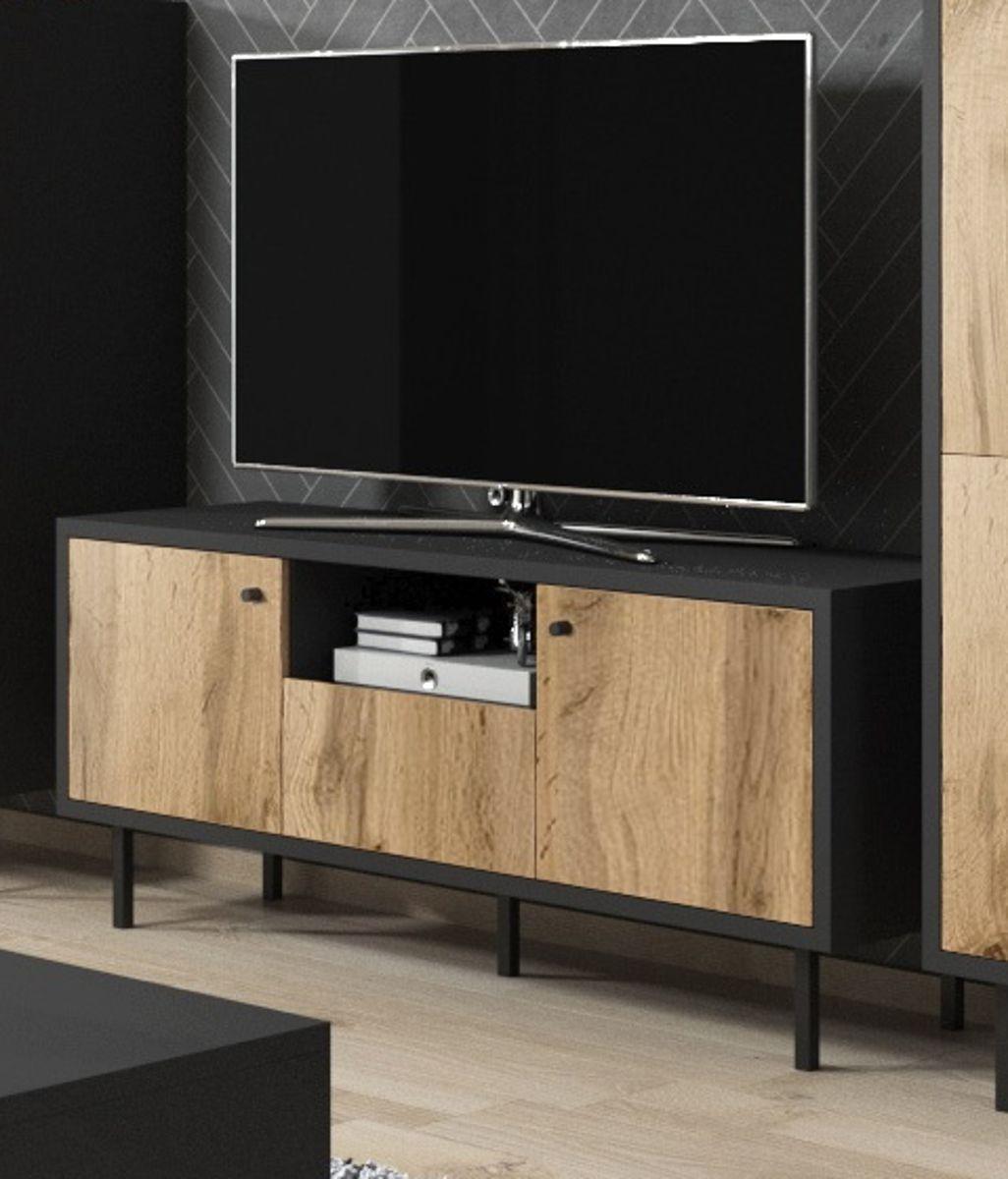 TV-Lowboard Konya in Eiche und schwarz 140 x 65 cm