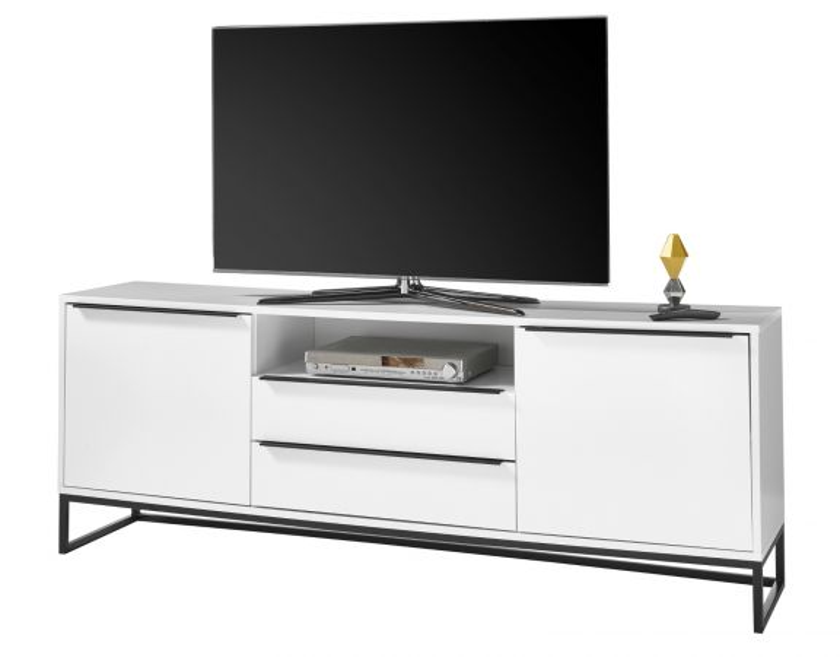 TV-Lowboard Lille in weiss und schwarz 184 x 69 cm