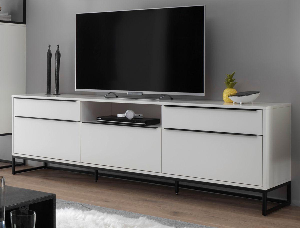 TV-Lowboard Lille in weiss und schwarz 215 x 69 cm