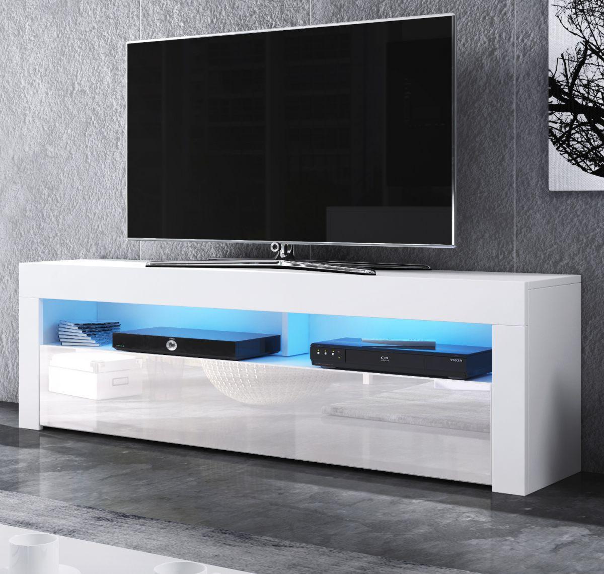 TV-Lowboard Live Hochglanz weiss mit Beleuchtung 140 cm
