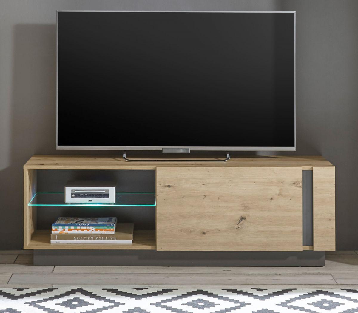 TV-Lowboard Louna in Eiche Artisan und Graphit grau 138 cm