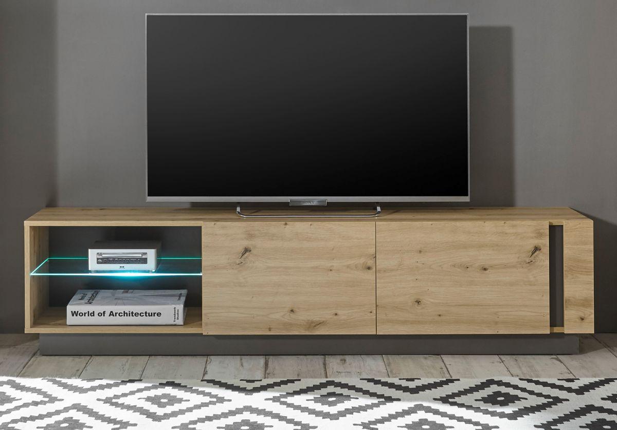 TV-Lowboard Louna in Eiche Artisan und Graphit grau 188 cm
