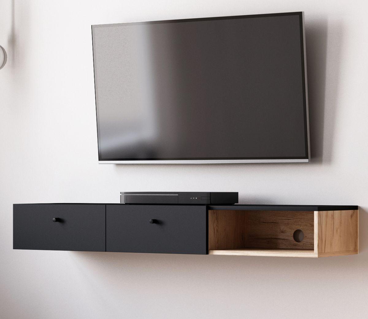 TV-Lowboard Matsdal in schwarz und Eiche Artisan 140 cm