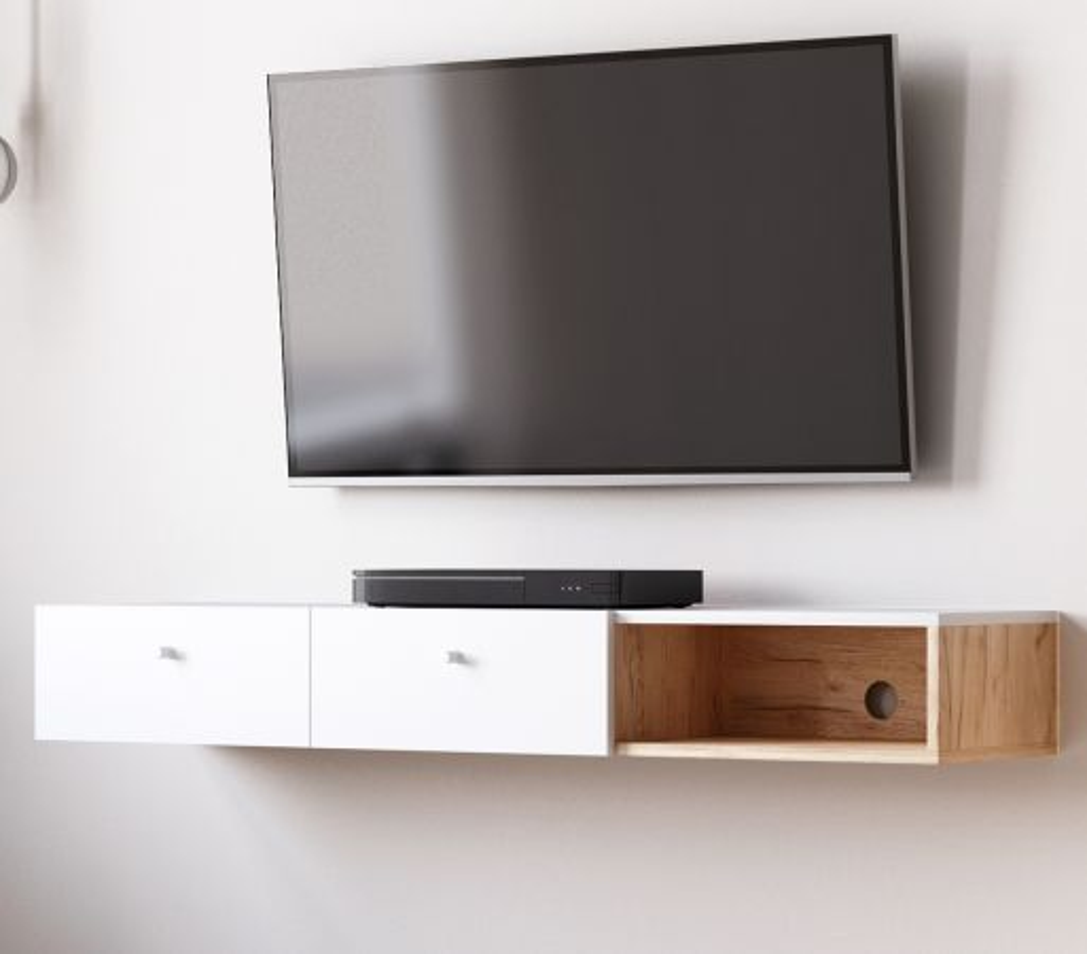 TV-Lowboard Matsdal in weiss und Eiche Artisan 140 cm