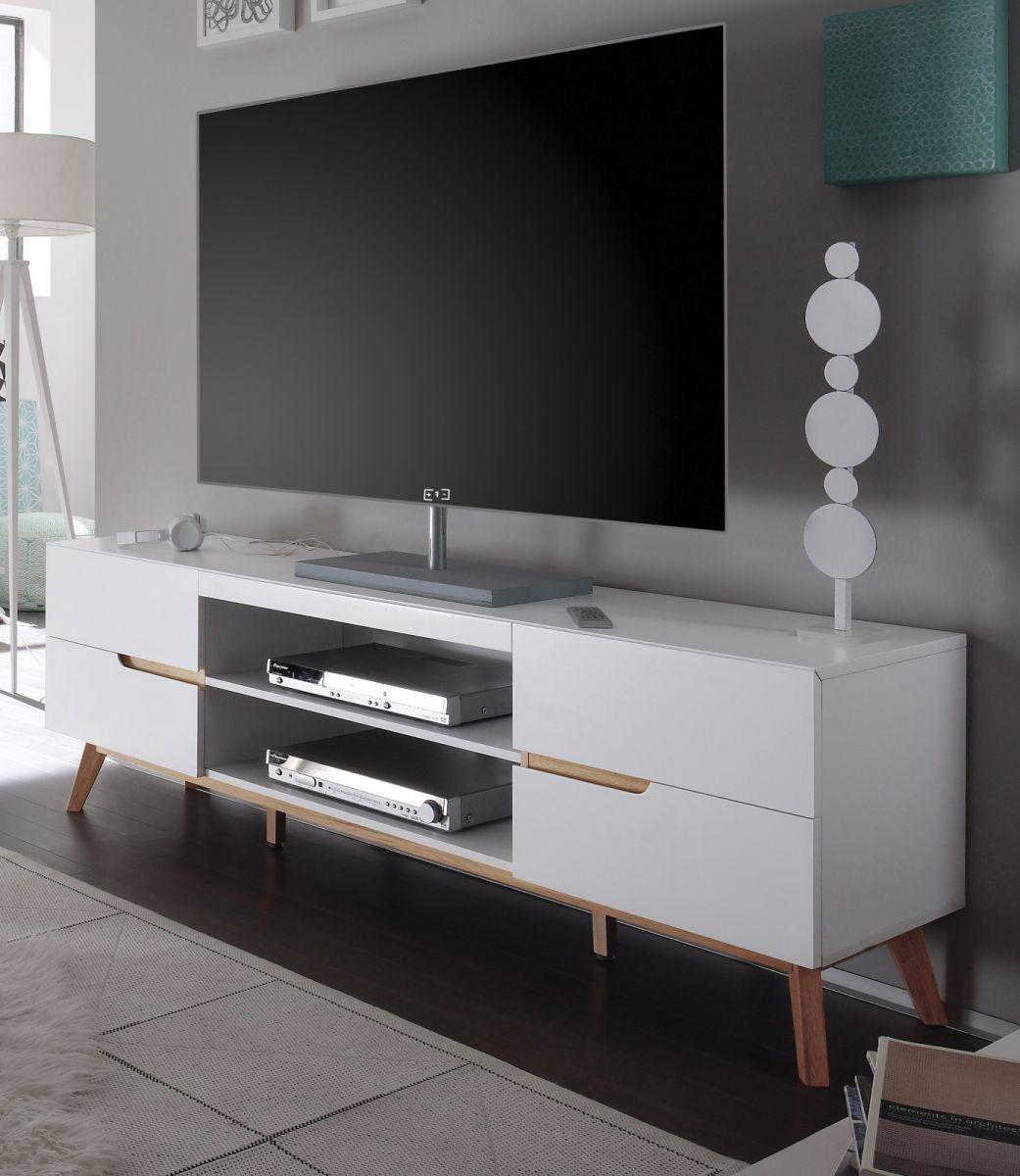TV-Lowboard matt weiss Lack und Asteiche 169 cm
