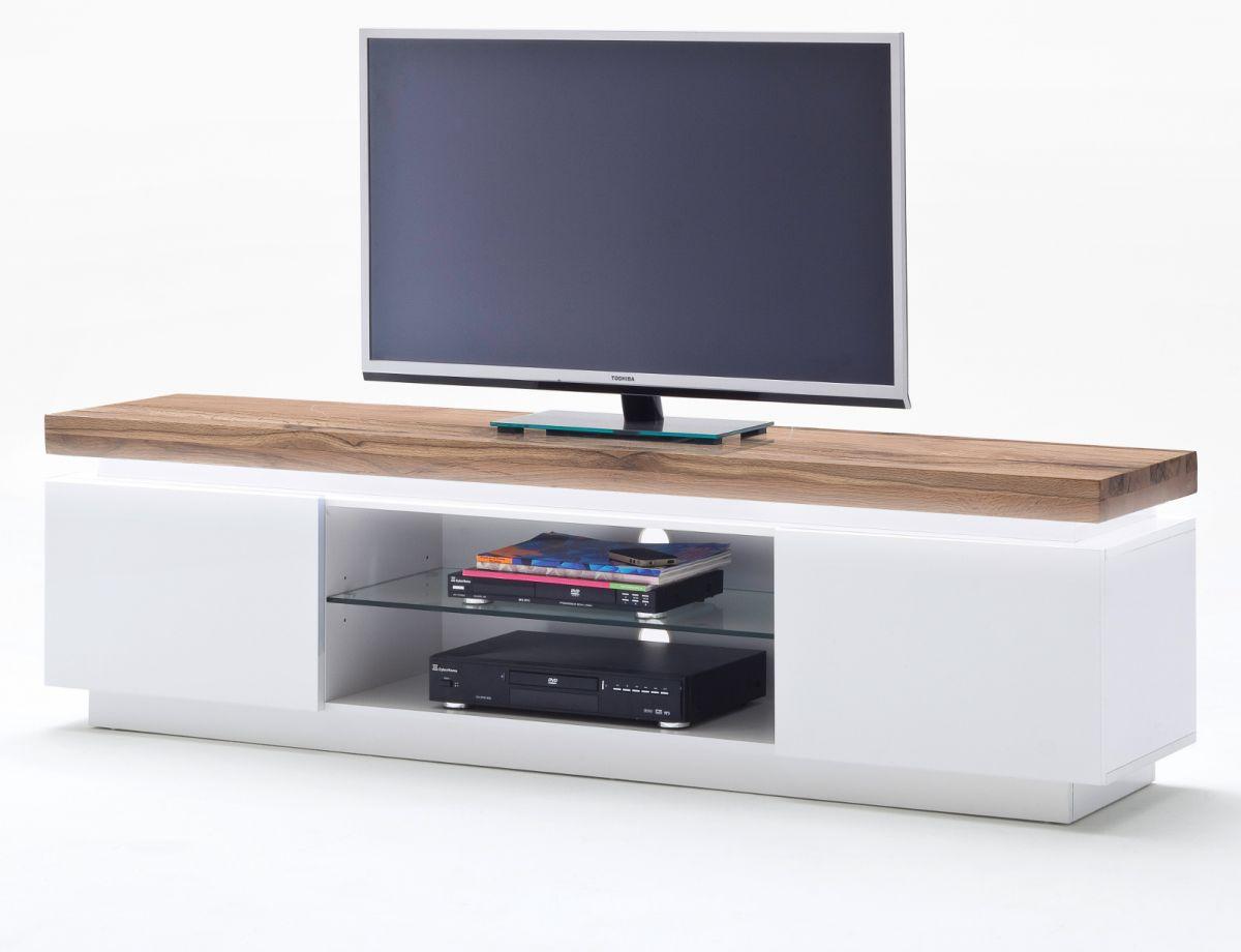 TV-Lowboard matt weiss und Eiche massiv 175 cm