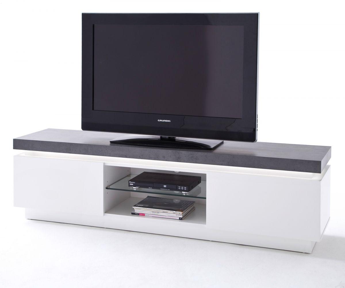 TV-Lowboard matt weiss und Stone Design 175 cm
