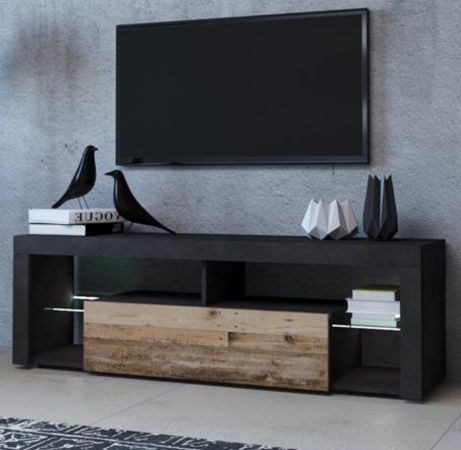TV-Lowboard Mount in Matera grau und Old Used Wood Shabby hell mit LED Beleuchtung 140 cm