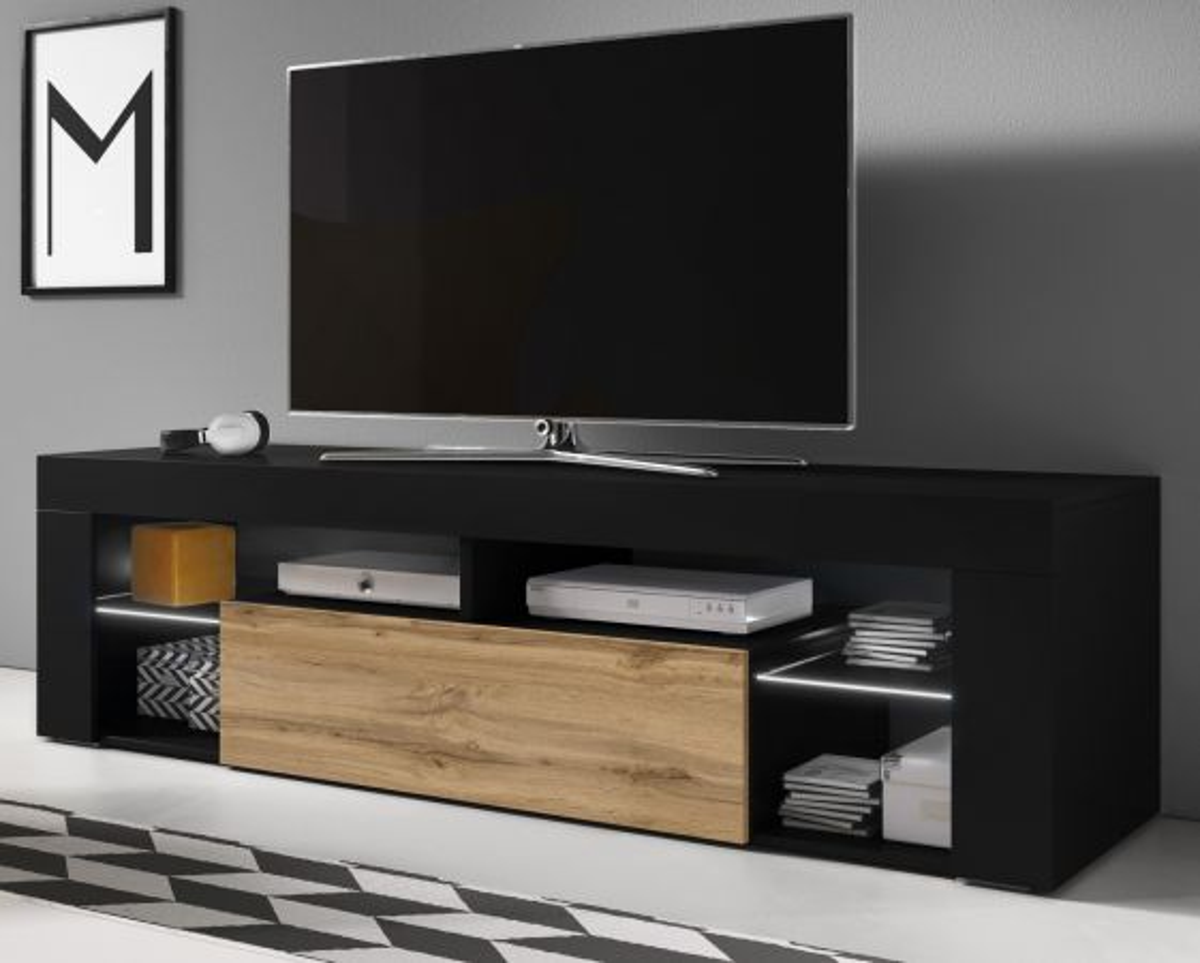 TV-Lowboard Mount in schwarz und Wotan Eiche mit LED Beleuchtung 140 cm