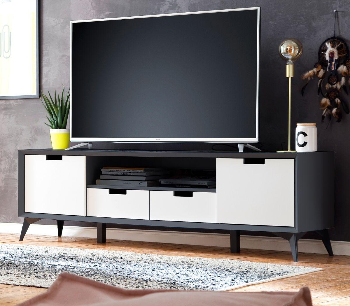 TV-Lowboard Netanja in weiss und grau mit Wechselfronten 180 x 55 cm