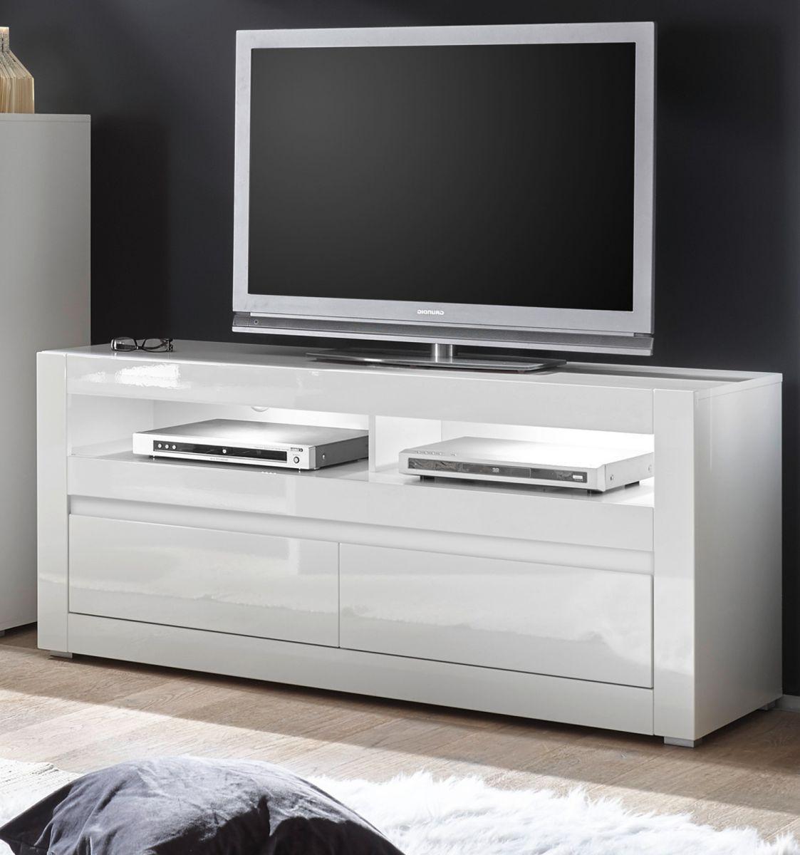 TV-Lowboard Nobile in Hochglanz weiss - Stone Design grau 150 x 63 cm