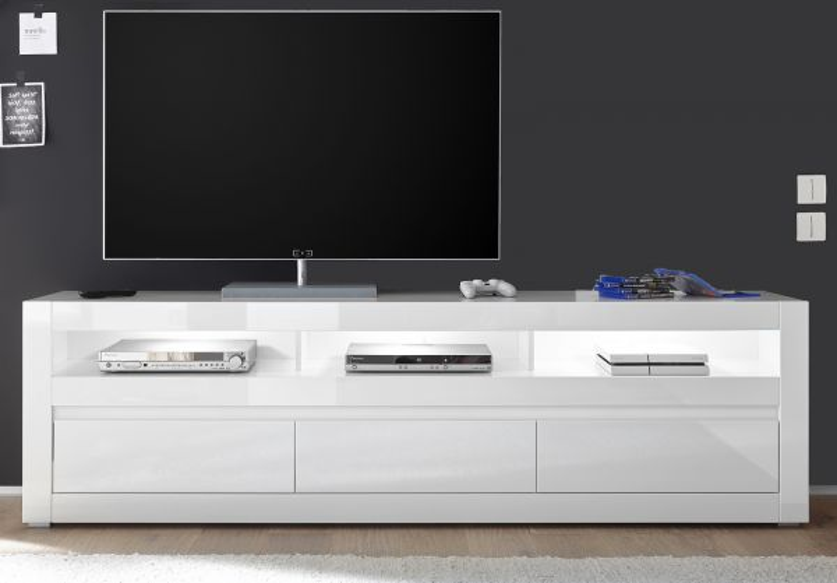 TV-Lowboard Nobile in Hochglanz weiss - Stone Design grau 217 x 63 cm