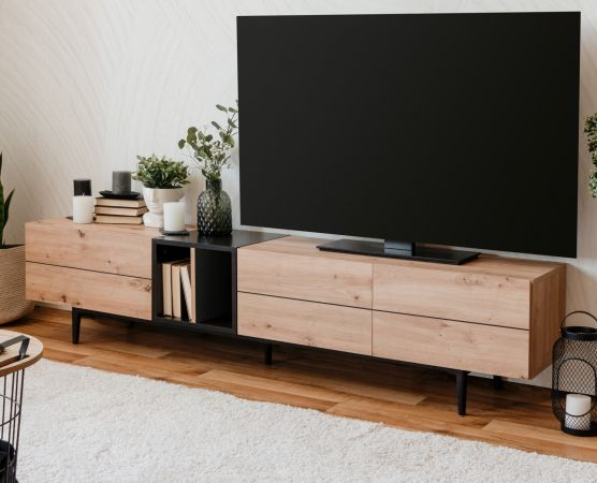 TV-Lowboard Nola in Eiche Artisan und schwarz 195 x 48 cm
