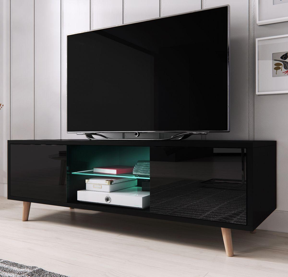 TV-Lowboard Norway-1 Hochglanz schwarz 140 cm