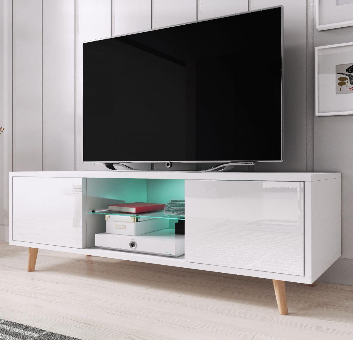 TV-Lowboard Norway-1 Hochglanz weiss 140 cm