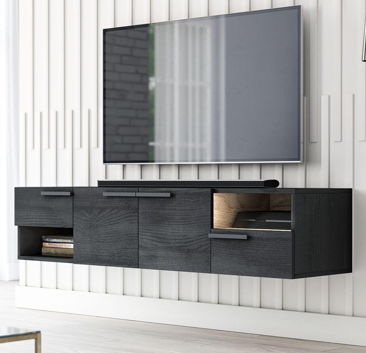 TV-Lowboard Odino in Black North und Eiche Gold 140 cm