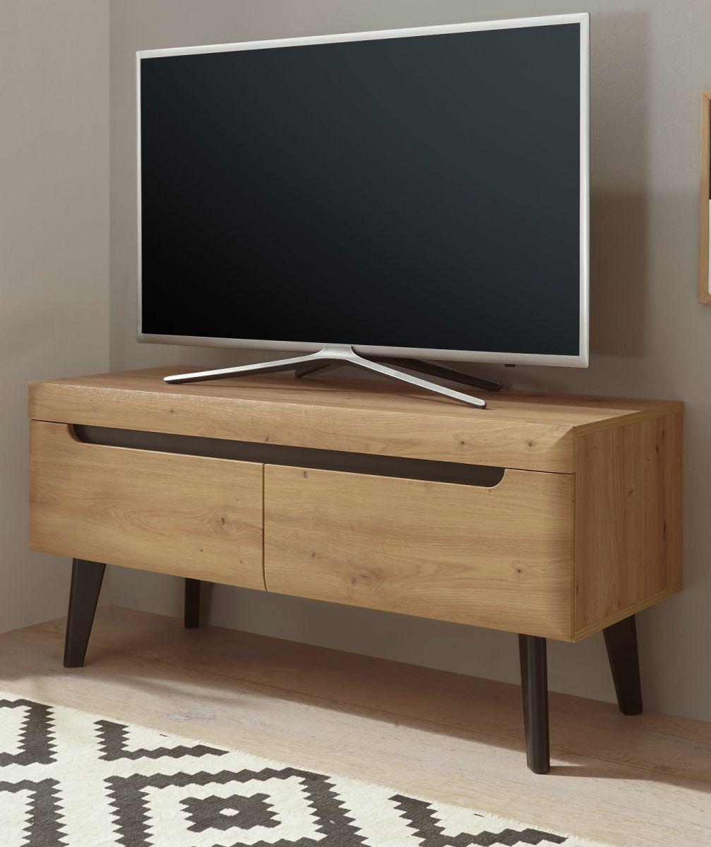 TV-Lowboard Ronson in Eiche Artisan und schwarz 107 x 50 cm