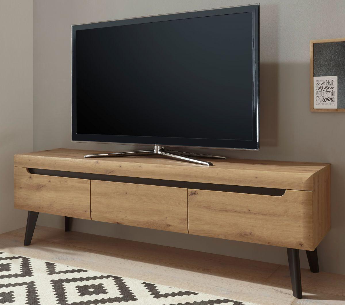 TV-Lowboard Ronson in Eiche Artisan und schwarz 160 x 50 cm