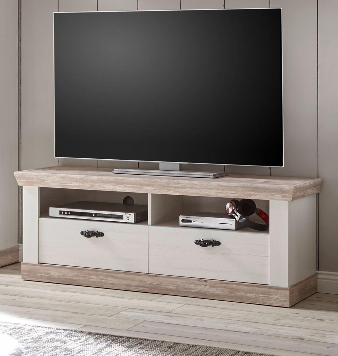 TV-Lowboard Rovola in Pinie weiss Landhaus 134 x 51 cm