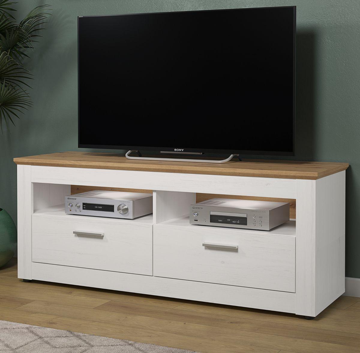 TV-Lowboard Shade in Andersen Pinie weiss und Eiche Artisan Landhaus 148 x 59 cm