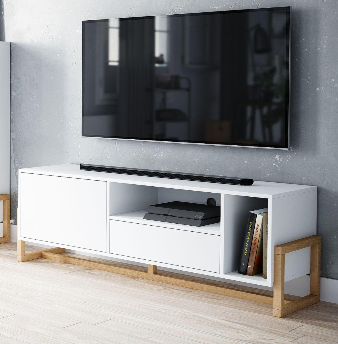 TV-Lowboard Skien in weiss und Buche massiv 139 x 49 cm