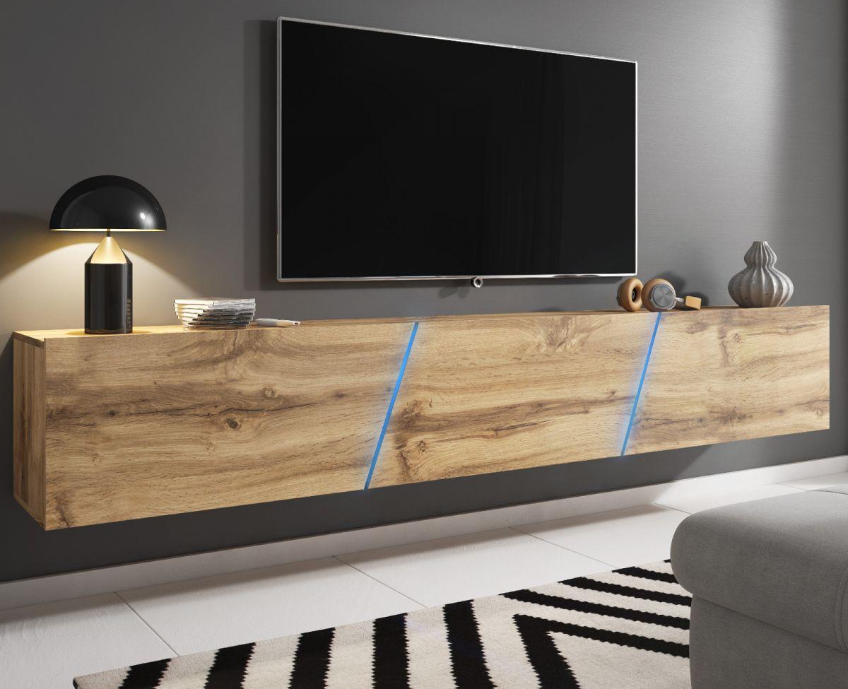 TV-Lowboard Space Eiche Wotan XXL-Board 240 cm Hängend - Stehend mit LED