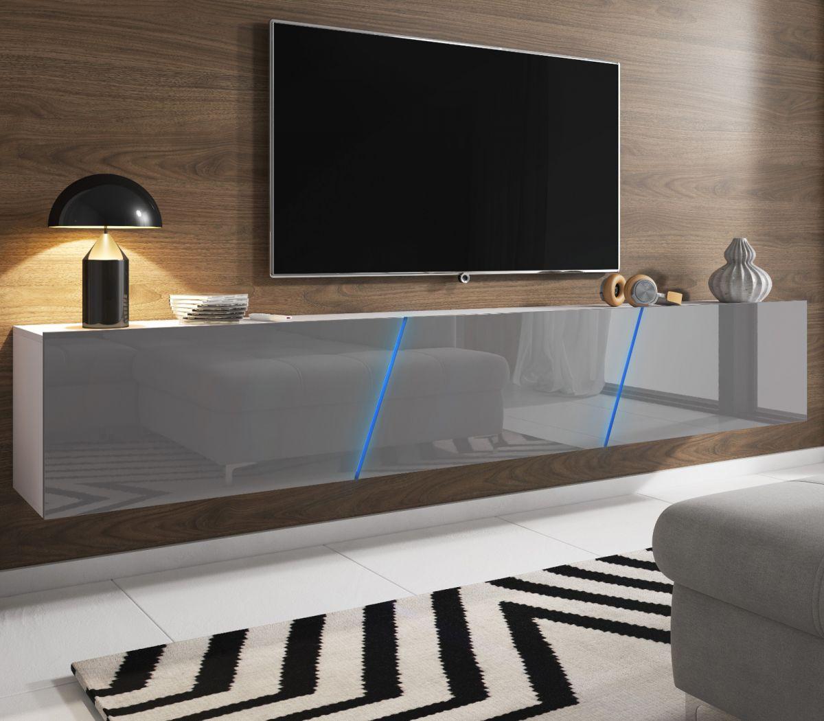 TV-Lowboard Space Hochglanz grau XXL-Board 240 cm hängend - stehend mit LED