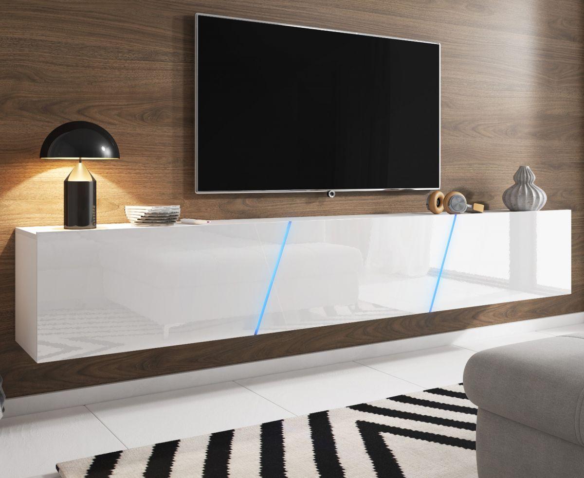 TV Lowboard Space Hochglanz weiss XXL-Board 240 cm mit LED
