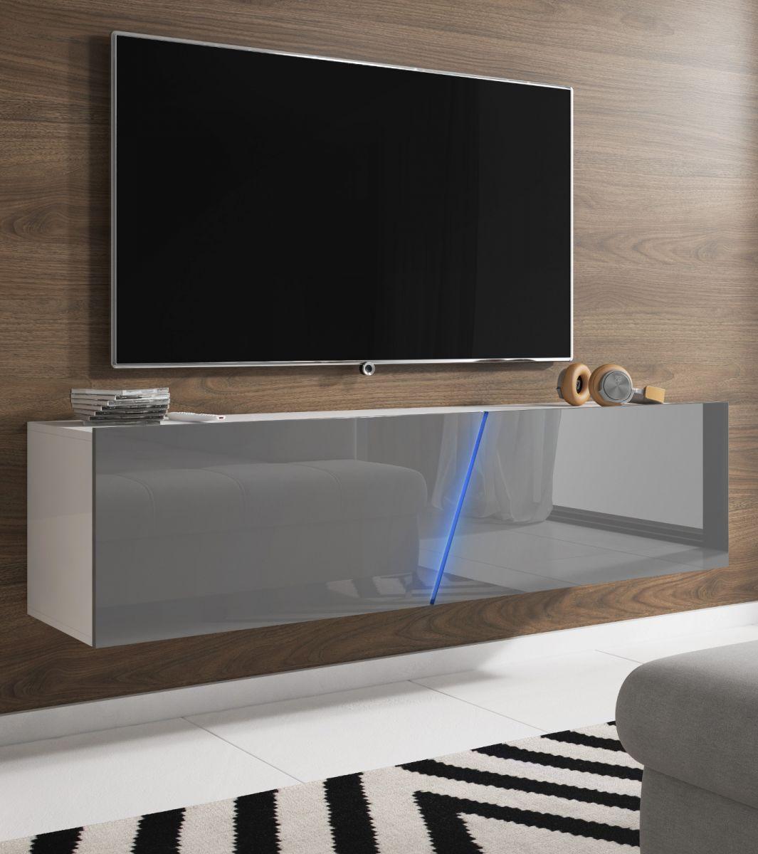 TV-Lowboard Space Lack Hochglanz grau mit Beleuchtung 160 cm