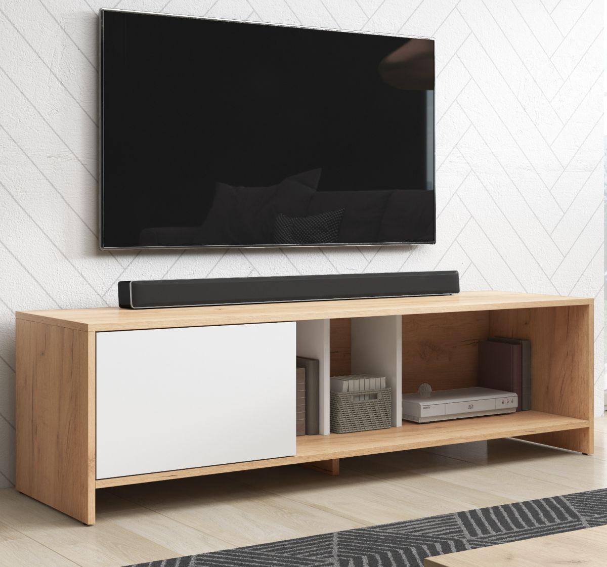 TV-Lowboard Steena in Wotan Eiche und weiss 140 cm