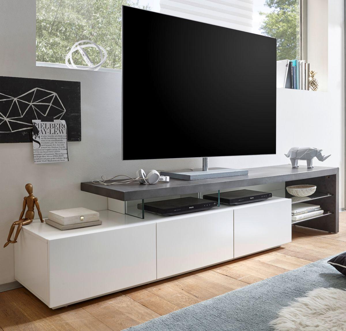 TV-Lowboard Stone grau und matt weiss 204 cm