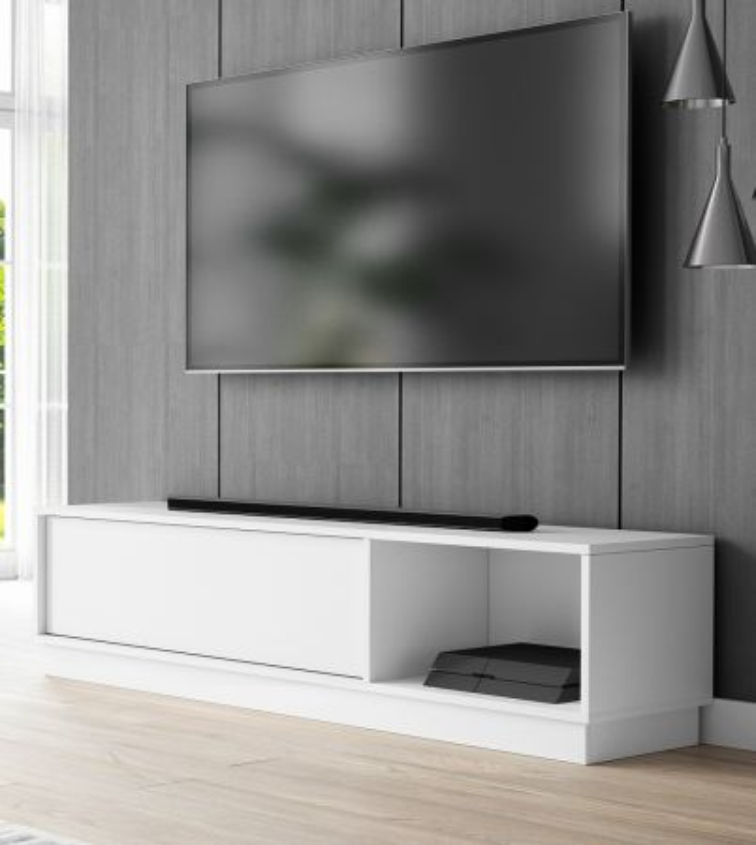TV-Lowboard Stream in weiss 140 x 36 cm