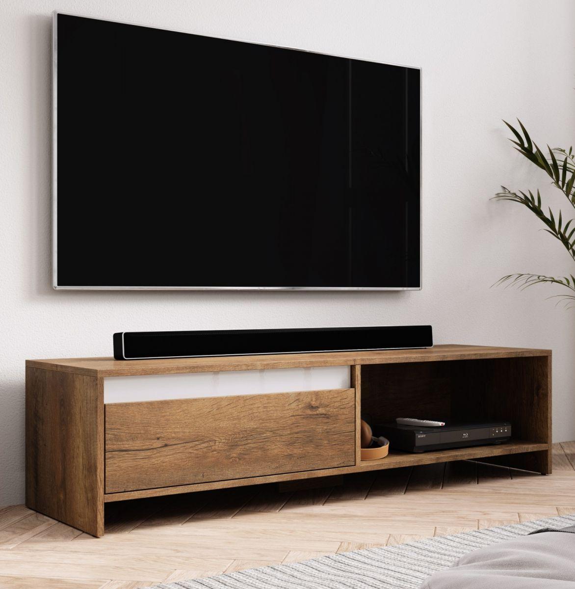 TV-Lowboard Toms Eiche Burgundy und weiss 140 cm