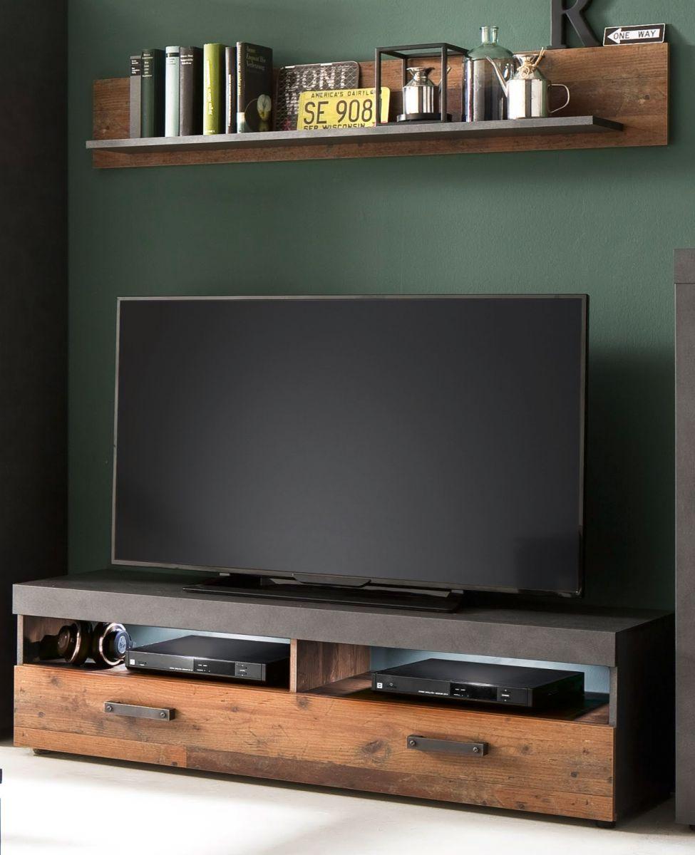 TV-Lowboard und Wandboard Indy in Used Wood Shabby und Matera grau 140 cm