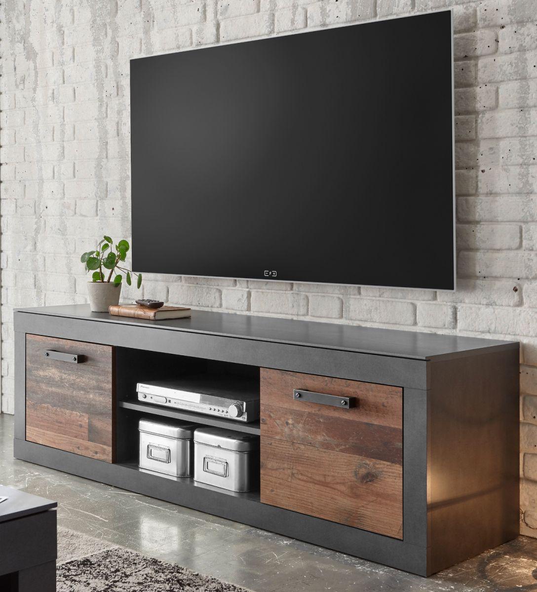 TV-Lowboard Ward in Used Wood Shabby und Matera grau 153 x 51 cm