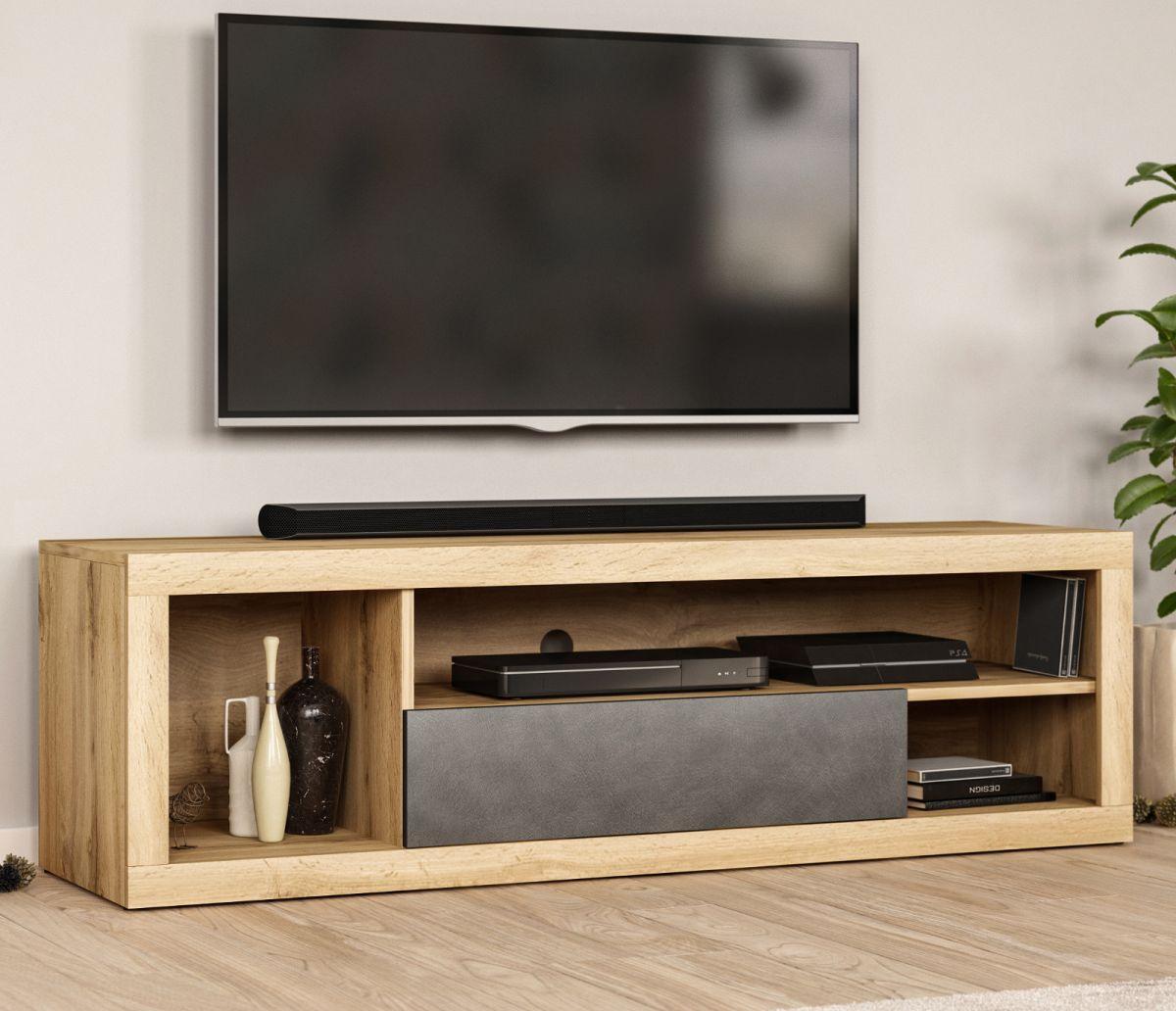 TV-Lowboard Ways Wotan Eiche und Matera grau 140 cm