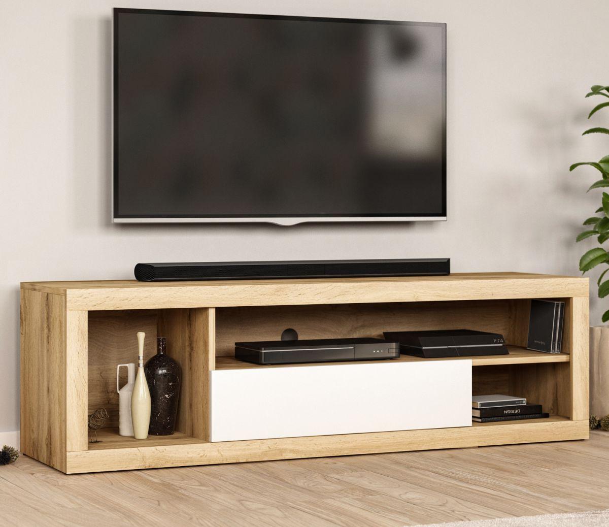 TV-Lowboard Ways Wotan Eiche und weiss 140 cm