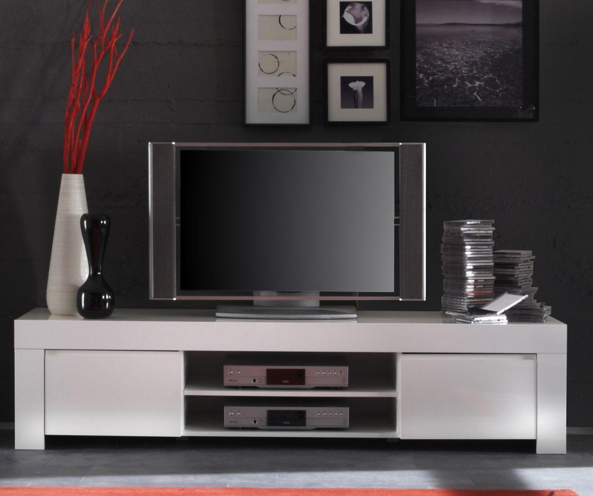 TV-Lowboard weiss echt Hochglanz Lack Italien 190 x 45 cm Livorno