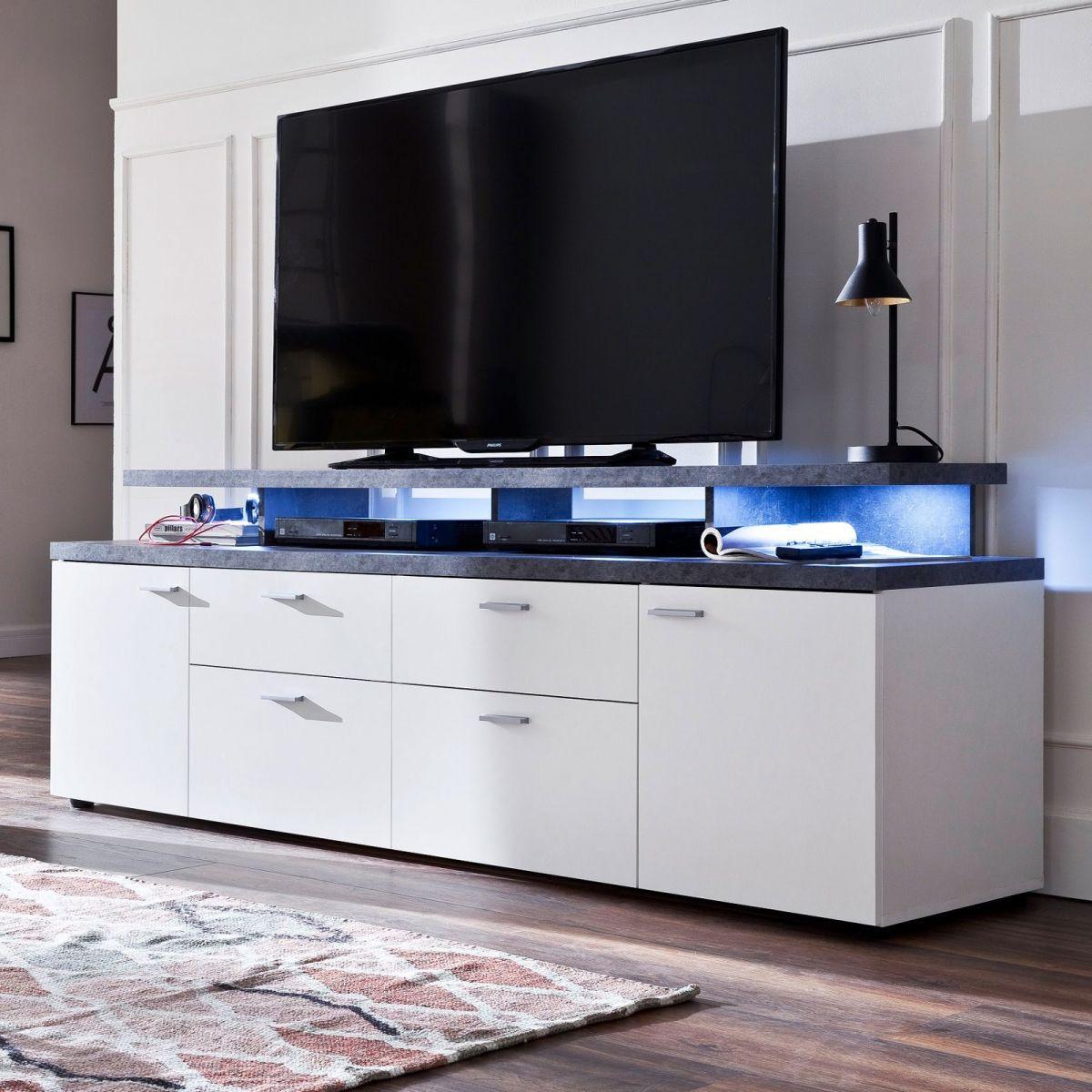 TV-Lowboard weiss und Stone grau 180 cm Komforthöhe