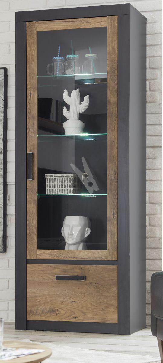 Vitrine Beveren in Kastanie und Fresco grau 67 x 200 cm