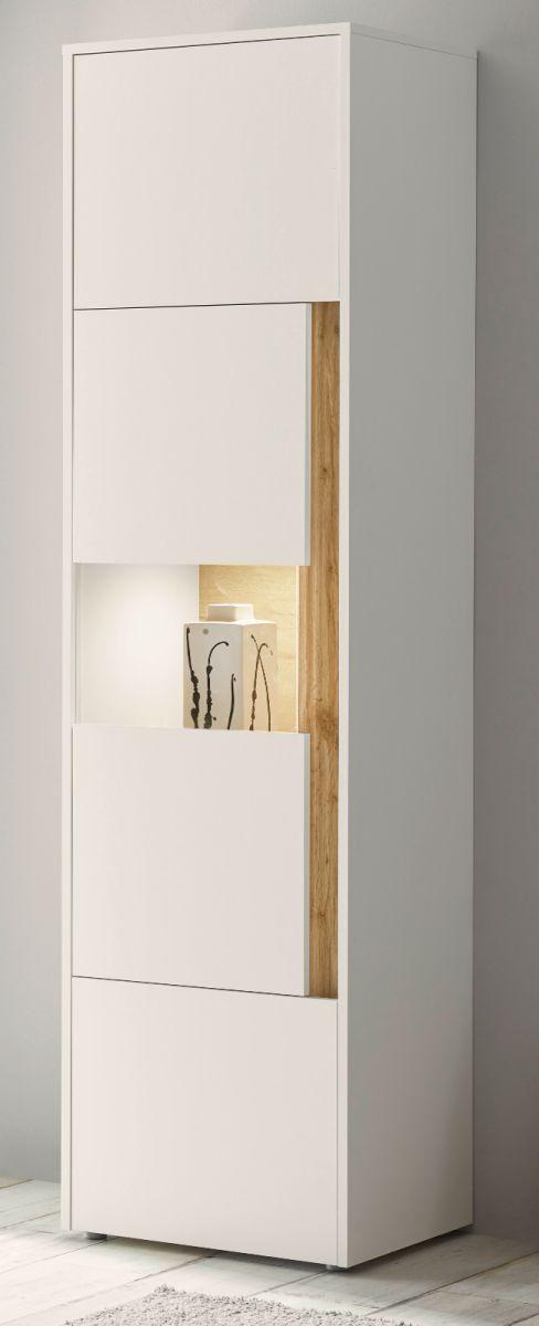 Vitrine Center in weiss und Eiche Wotan 50 x 197 cm