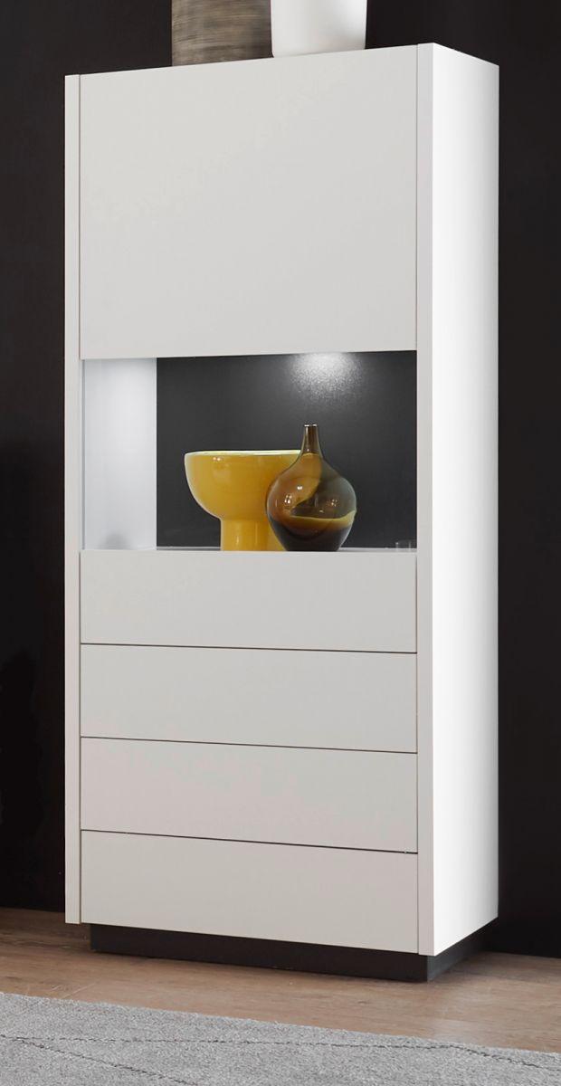 Vitrine Design-M in weiss matt und Fresco grau 55 x 140 cm