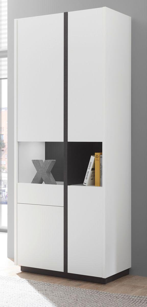 Vitrine Design-M in weiss matt und Fresco grau 73 x 185 cm