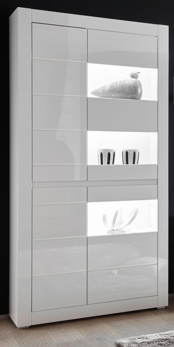 Vitrine Nobile in Hochglanz weiss - Stone Design grau 100 x 198 cm
