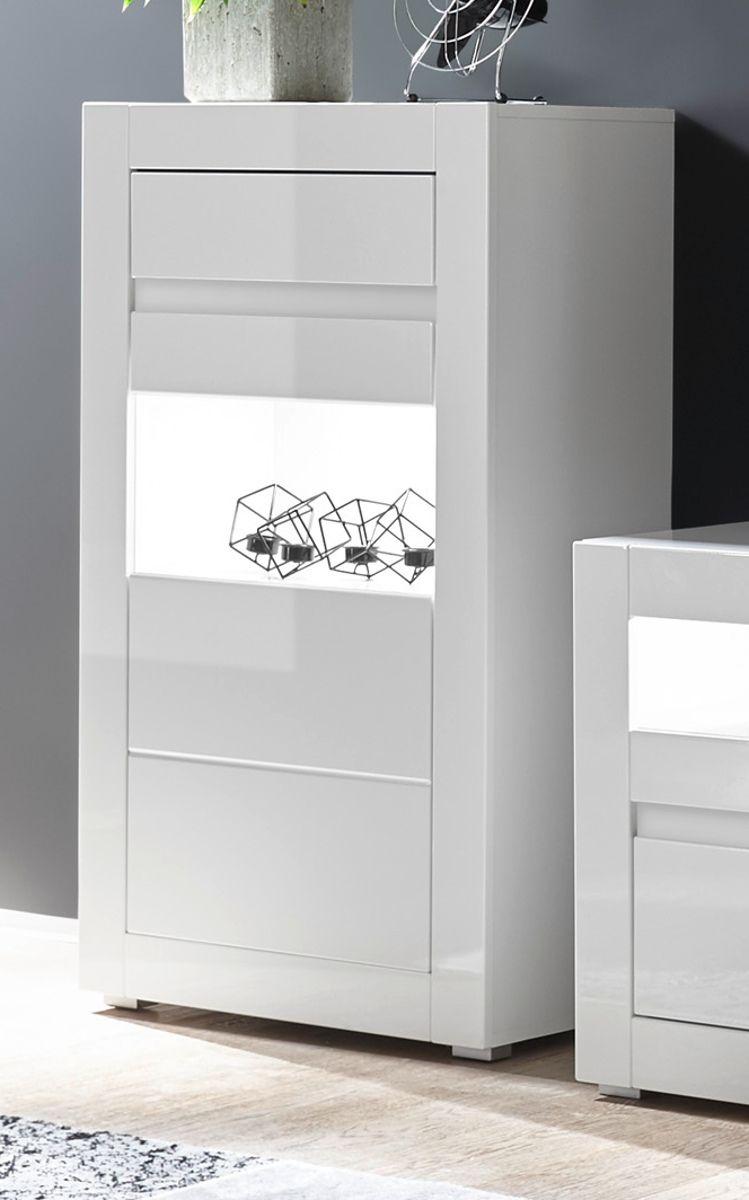Vitrine Nobile in Hochglanz weiss - Stone Design grau 66 x 112 cm