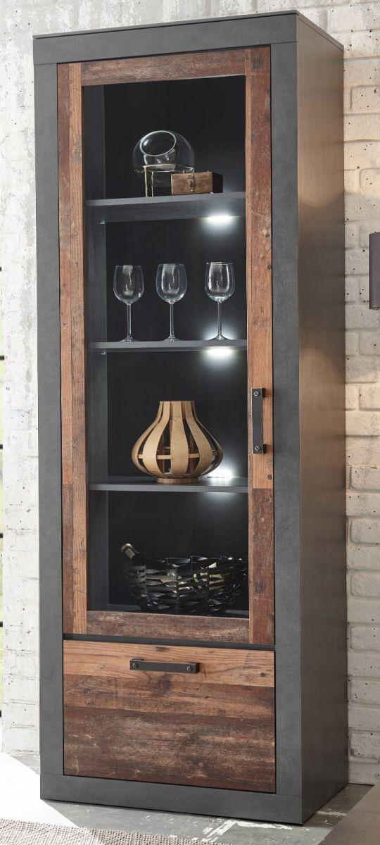 Vitrine Ward in Used Wood Shabby und Matera grau 65 x 201 cm