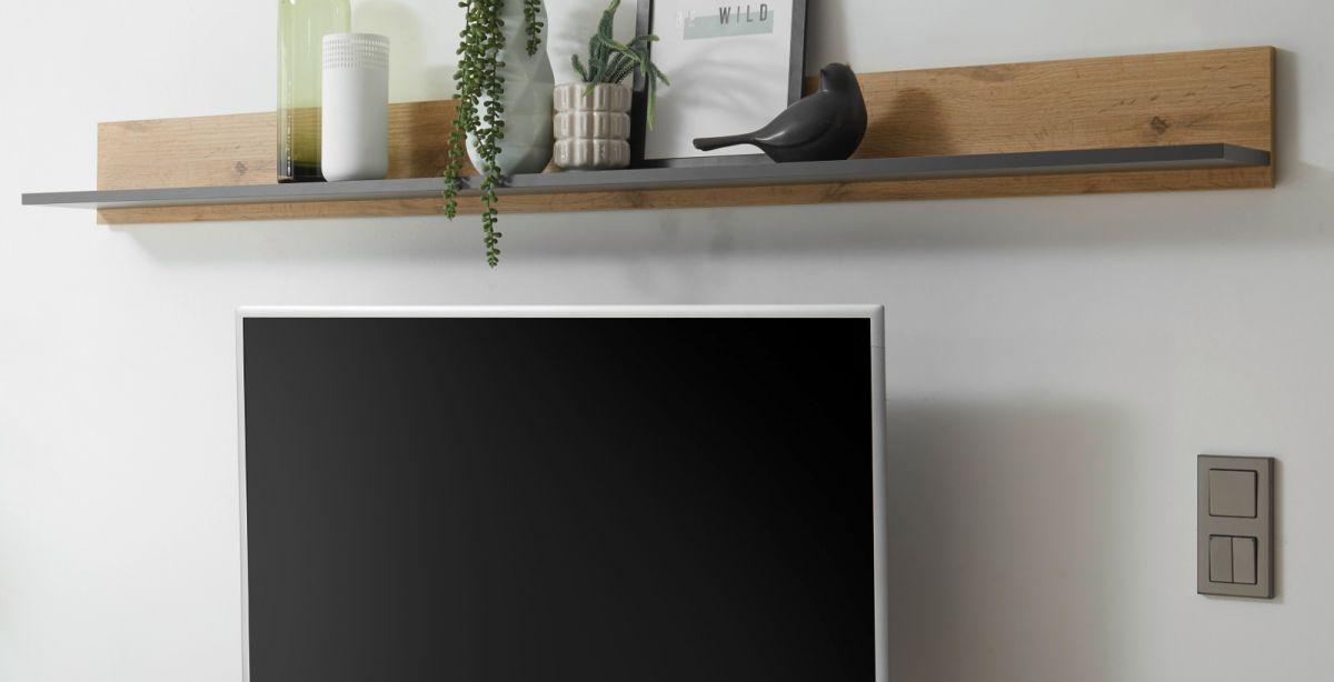 Wandboard Center in grau matt und Eiche Wotan 170 x 15 cm