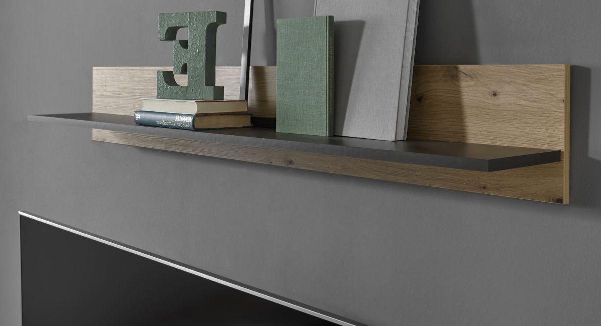 Wandboard Louna in Eiche Artisan und Graphit grau 138 cm