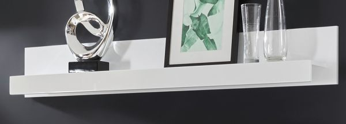 Wandboard Nobile in Hochglanz weiss 150 x 22 cm